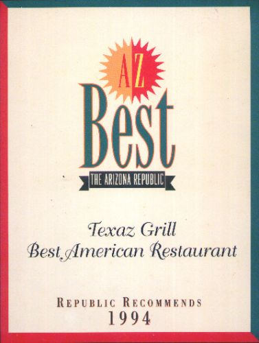Arizona Republic Best American Restaurant 1994